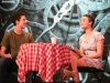 """Paul Hathaway, left, and junior Emma Gustavson act in """"Sure Thing"""" Feb. 17. photo by Maggie Knox"""