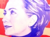 Artist Tony Puryear made his poster of the 2008 democratic candidate Hillary Clinton. photo by Kate Jones