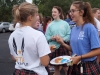 Seniors Sophie Prochnow and Casey Campo chat over breakfast at the Senior Tailgate Aug. 14. photo by Violet Cowdin