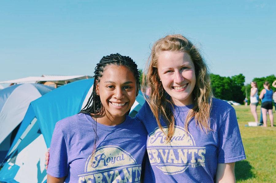 Jewell Allen, left, and a leader on her team Claire pose for a photo while at training camp in Wisconsin. photo courtesy of Jewell Allen