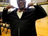 Mayor Sly James poses as he holds up the bow-tie the Science Quiz Bowl made for him. The bow-tie for James was made using the 3D printer. photo by Paige Powell