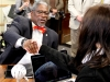 Mayor Sly James shakes hands with senior Audrey Carroll after an interview Feb. 1. photo by Paige Powell