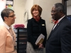 Science teacher Mary Montag meets and talks with Mayor Sly James and STA President Nan Bone. Montag explained her teaching methods to James and Bone. photo by Paige Powell