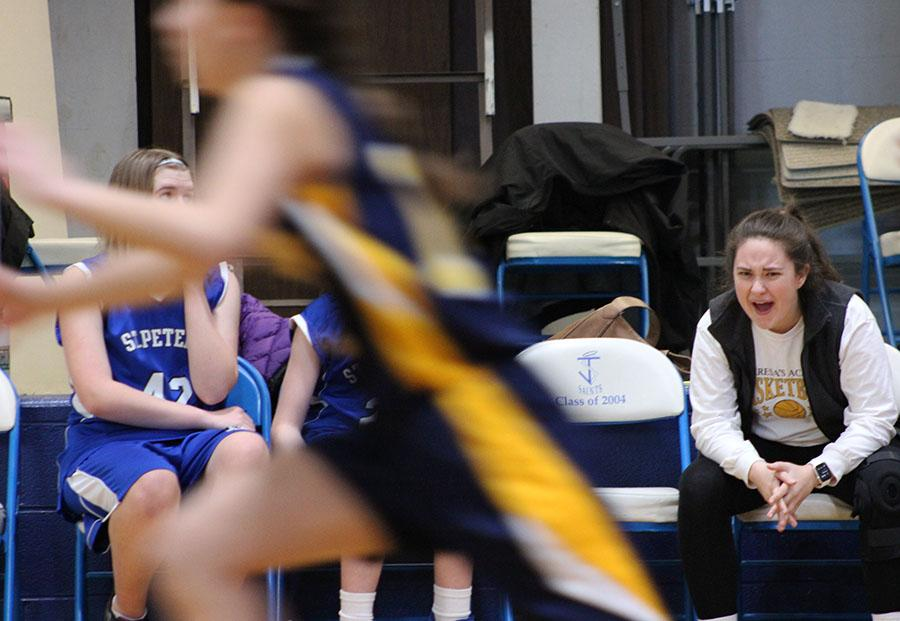 Senior Sophia Cusumano yells to her players during the game at St. James Feb. 14. photo by Bridget Jones.