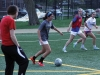Junior Macy Trujillo dribbles the ball towards the goal during varsity soccer practice March 30. photo by Maggie Knox