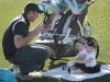 Jason Hanna, husband of head coach Jessica Hanna, plays with their two daughters, Sydney and Sadie, during the STA vs Sion varsity lacrosse game March 31 at STA. The Stars defeated the Storm 19-4. photo by Siobhan Miller