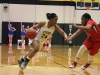 Senior Ryan Wilkins dribbles the ball down the court against her Miege opponent. The STA Stars lost 47-34 to the BMHS Stags. photo by Kat Mediavilla