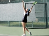 Junior Hannah Bredar serves the ball during a tennis match against St. Joseph Central High School Sept. 25 at Homestead Country Club. The stars won 7-2.