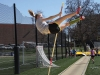 Sophomore Elsa Feigenbaum practices pole vaulting March 31. Feigenbaum is on the STA track varsity pole vaulting team. photo by Arinna Hoffine