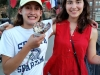 Senior transfer Emma Zanher, right, enjoys an ice cream cone from Cold Stone Creamery with sister, left, as they pose for a picture by Brush Creek on the Plaza.(Photo courtesy of Emma Zanher)