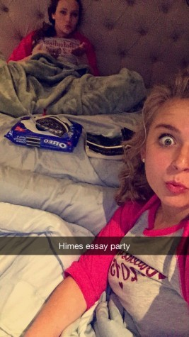 Sophomores Mackenzie O'Guin (front) and Kelly Hulsey (back) slave away at Himes essay. The photo was taken at approximately 2:22 AM.