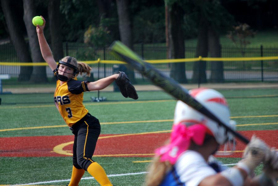Senior+Maddie+Watts+throws+a+pitch+in+the+game+against+St.+Joseph+Central+Aug.+27.+photo+by+Libby+Hutchinson