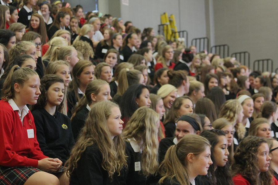 Freshmen sit in the bleachers of the Goppert Center Aug. 13. photo by Paige Powell
