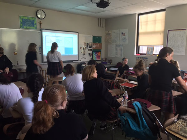 Latin II students prepare for class. photo by Lily Manning