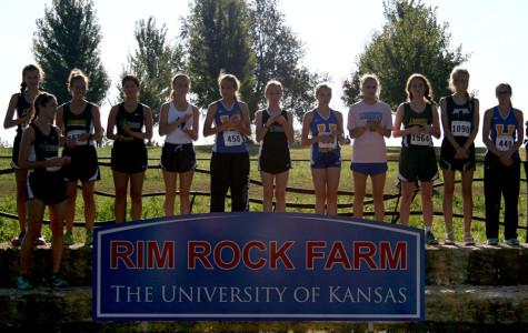 The Rim Rock Junior Varsity award ceremony featured Leeny O'Boyle, who finished in 12th place, Emily Robyn and Sarah Cigas. JV finished 5th out of 26 complete teams. photo by Kate Scofield