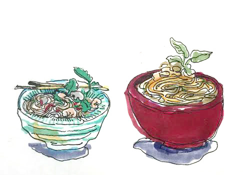 Various Thai noodle and veggie dishes. illustration by Ellie Grever