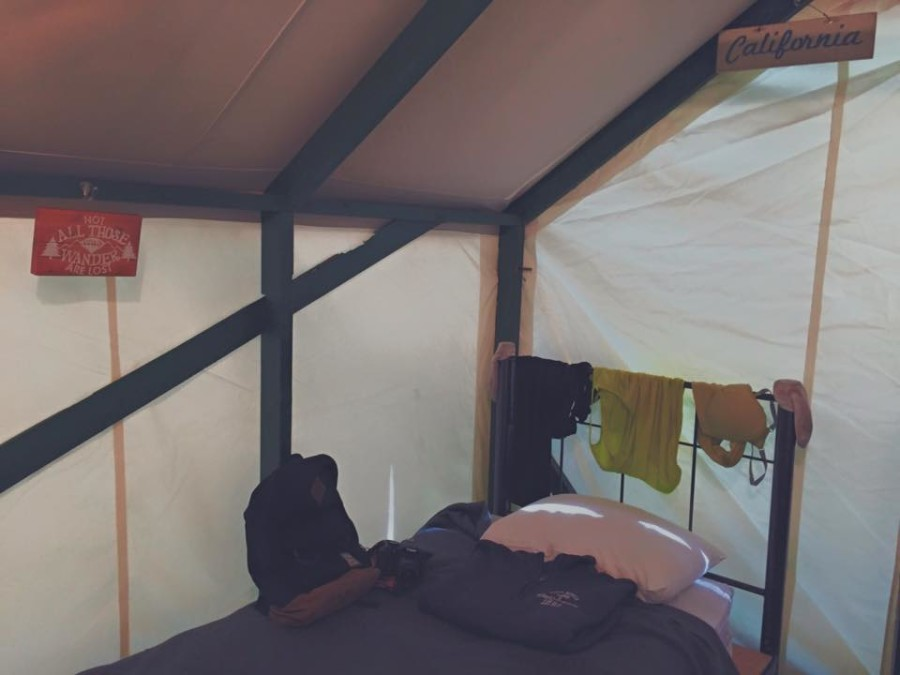 The inside of our fabric cabin