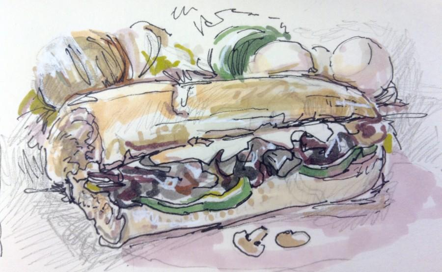 A chicken-Philly sub sandwich such as this can be found at Bistro Kids. illustration by Ellie Grever