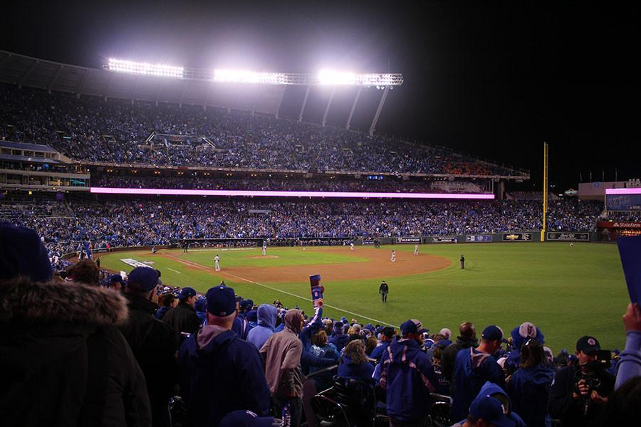 Spectators gather at Kaufman Stadium, home of the Kansas City Royals, Oct. 28 for Game 2 of the World Series. The Royals defeated the New York Mets 7-1 and lead the series 2-0.