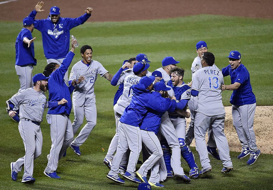 The Kansas City Royals celebrate after defeating the New York Mets 7-2 to win the World Series Nov. 1 at Citi Field in New York. photo courtesy MCT Campus