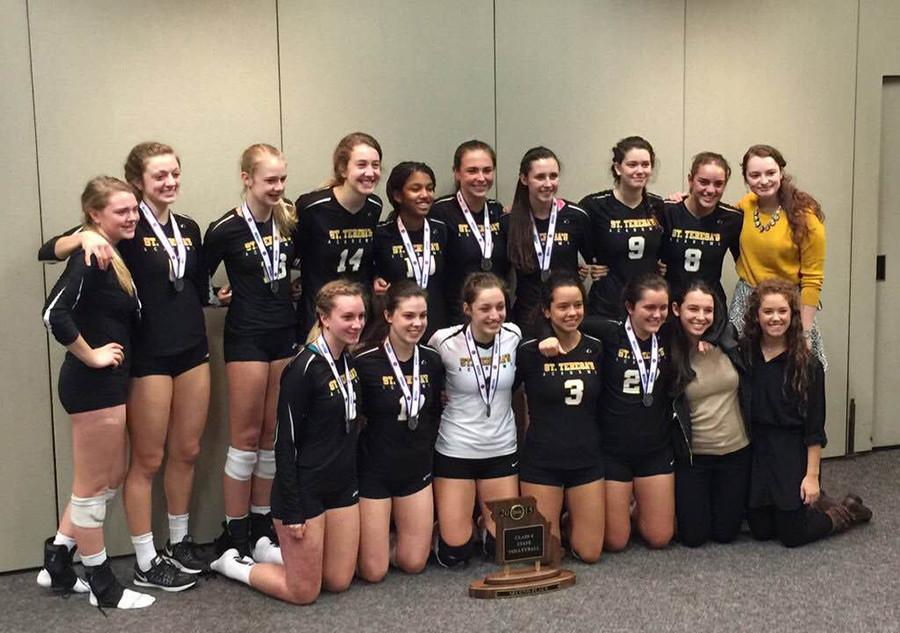 The+STA+varsity+volleyball+team+poses+for+a+photo+with+their+state+runner-up+trophy+Oct.+31.+photo+courtesy+of+Tyler+Abney