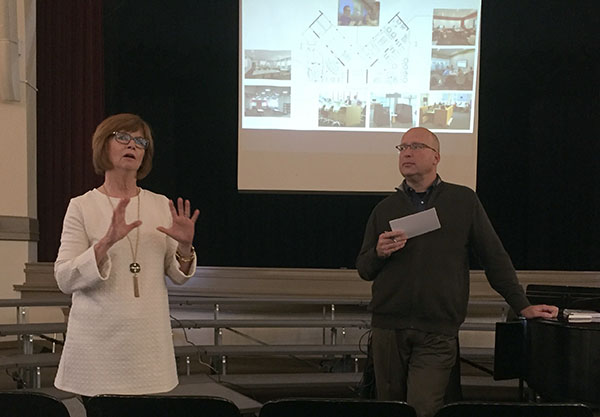 STA President Nan Bone and Gould Evans architect David Reid talk to students about future STA plans. photo by Torie Richardson