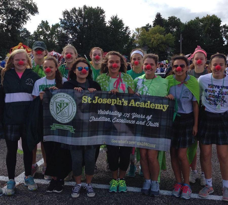 St. Joseph's Academy students represented 175 years of their school at the Kirkwood parade. photo courtesy of Emily Bauwens