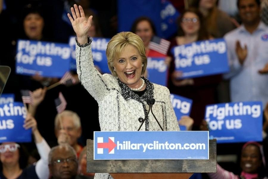 Hilary Clinton makes a speech after her win in South Carolina. Photo courtesy of The Atlantic.