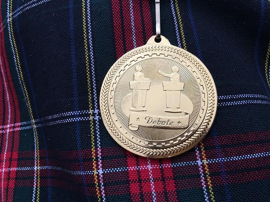 A first-place medal from yesterday's debate. photo by Madi Winfield