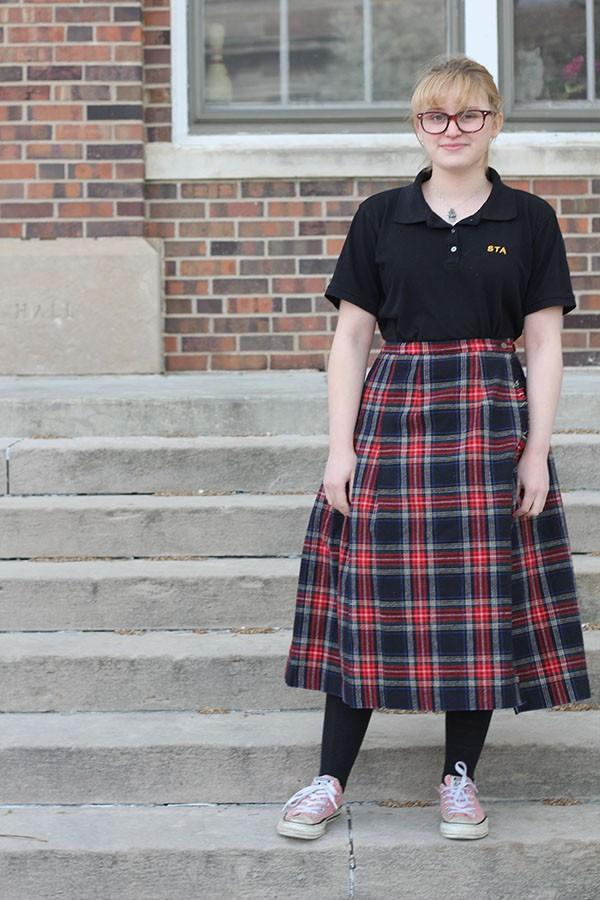 Senior Rita Vittori poses in the new kilt. photo by Anna Hafner