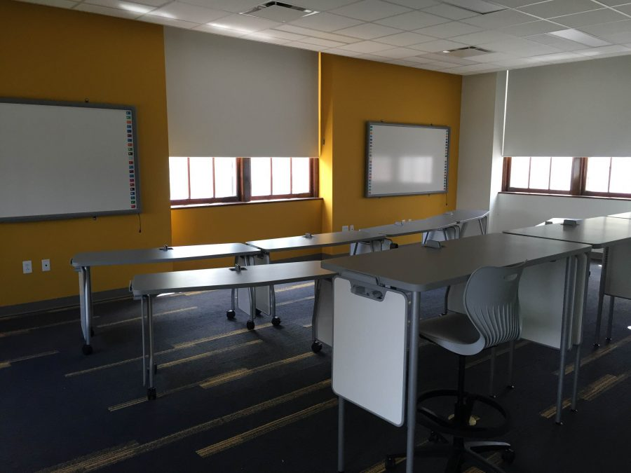 Two math classrooms were built into the renovated Hub space. Adjustable desks allow for varied classroom setups and learning environments. photo by Gabby Staker
