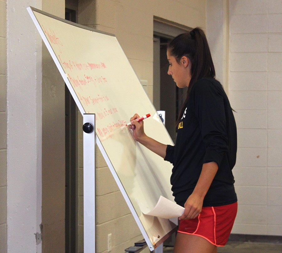 Volleyball+coach+Lauren+Brentlinger+writes+strategy+on+the+white+board+during+practice.+photo+by+Paige+Powell