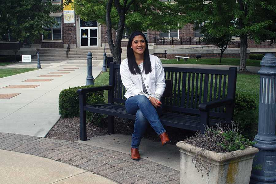 New Spanish teacher Maria Lopez sits in the quad during a Activity. photo by Cassie Hayes
