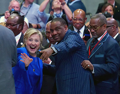 Democratic presidential nominee Hillary Clinton waves as she shakes hands following her speech on Sept. 8 at the Baptist National Convention at Bartle Hall in Kansas City, Mo. photo courtesy of Tribune News Service