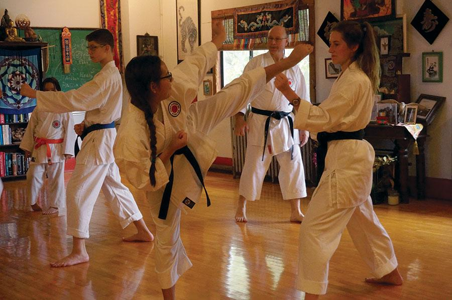 Sophomore Talia Parra practices with sophomore Olivia Robertson during their karate lesson. Parra and Robertson practice a style of karate called Shindō jinen-ryū at Tao Academy of Kansas City. photo by Gabby Martinez