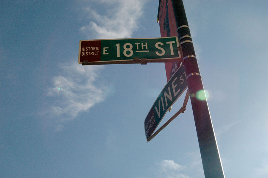 The cross street signs 18th and Vine are present on the end of both streets. 18th and vine is a historic and important jazz district in the Kansas City Paseo area. The city will invest over $27 million into the renovation for the district over the next 3 years. photo by Riley McNett