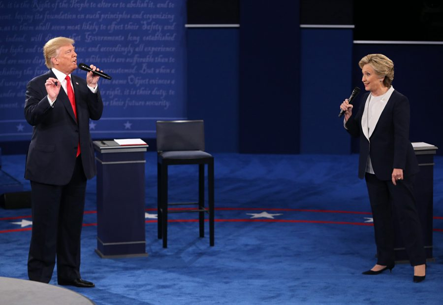 Donald Trump and and Hillary Clinton on stage during the second presidential debate Oct. 9, at Washington University, St. Louis. photo courtesy of Tribune News Service