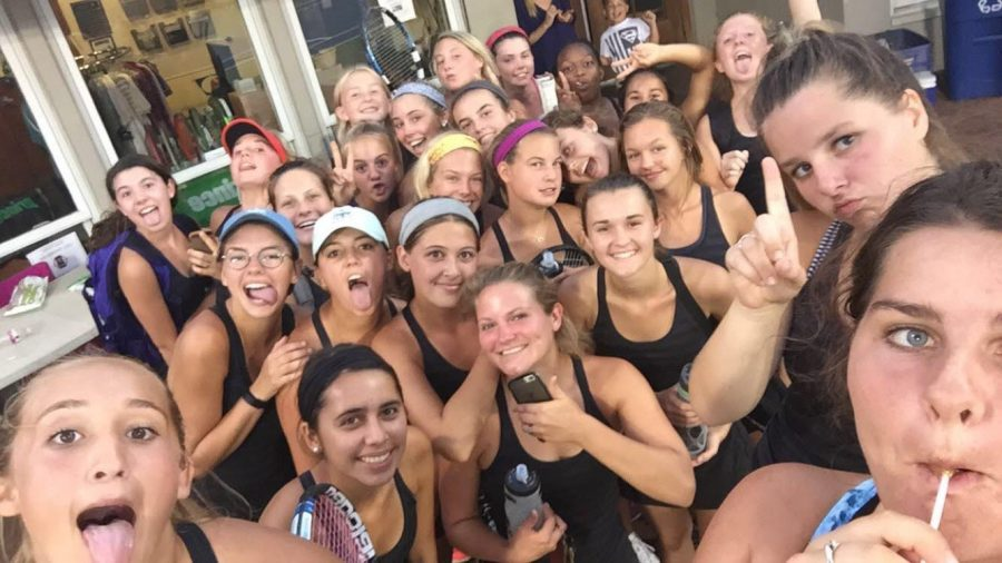 Connor snaps a selfie with the tennis team. Photo courtesy of senior Mary Claire Connor