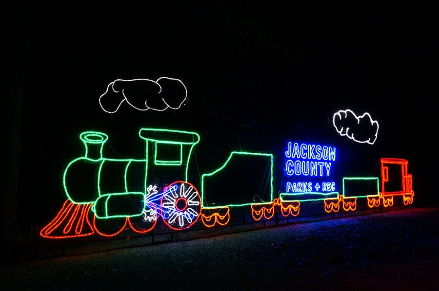 A Christmas in the Park animated display reads
