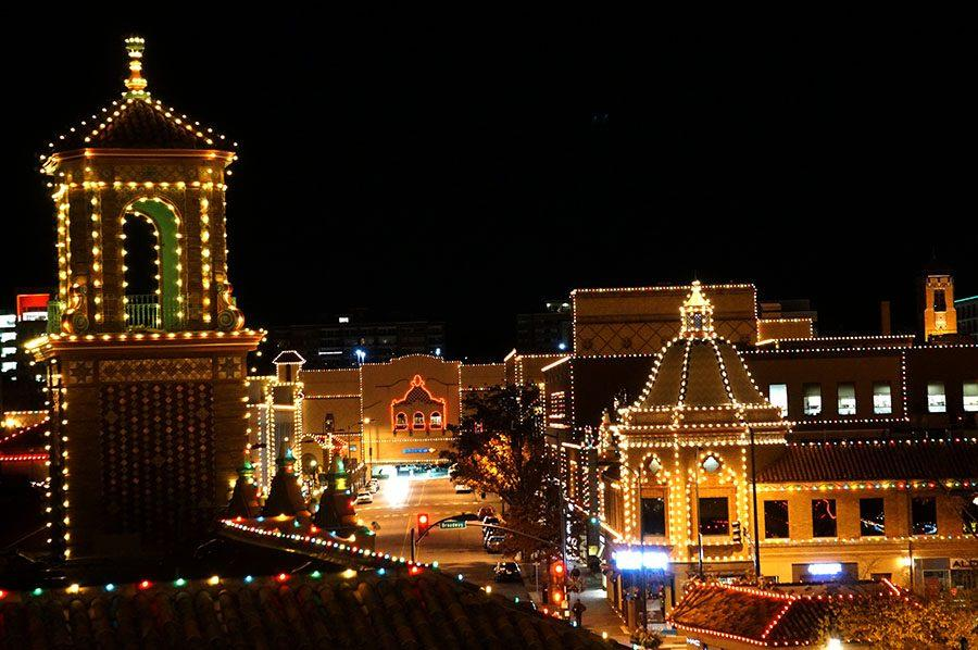 Christmas lights shine around Country Club Plaza. The KCP&L Plaza Lighting Ceremony is held annually on Thanksgiving. This year's celebrity guest was tennis player Jack Sock, a Kansas City native and gold medalist from the 2016 Rio Olympics. photo by Gabby Martinez