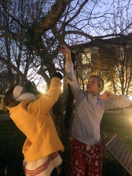 Seniors Olivia Jackson and Libby Hutchinson string lights on a tree. The seniors spent last night decorating, only to realize this morning they had strung them on with the plugs facing the wrong way. photo by Julia Kerrigan