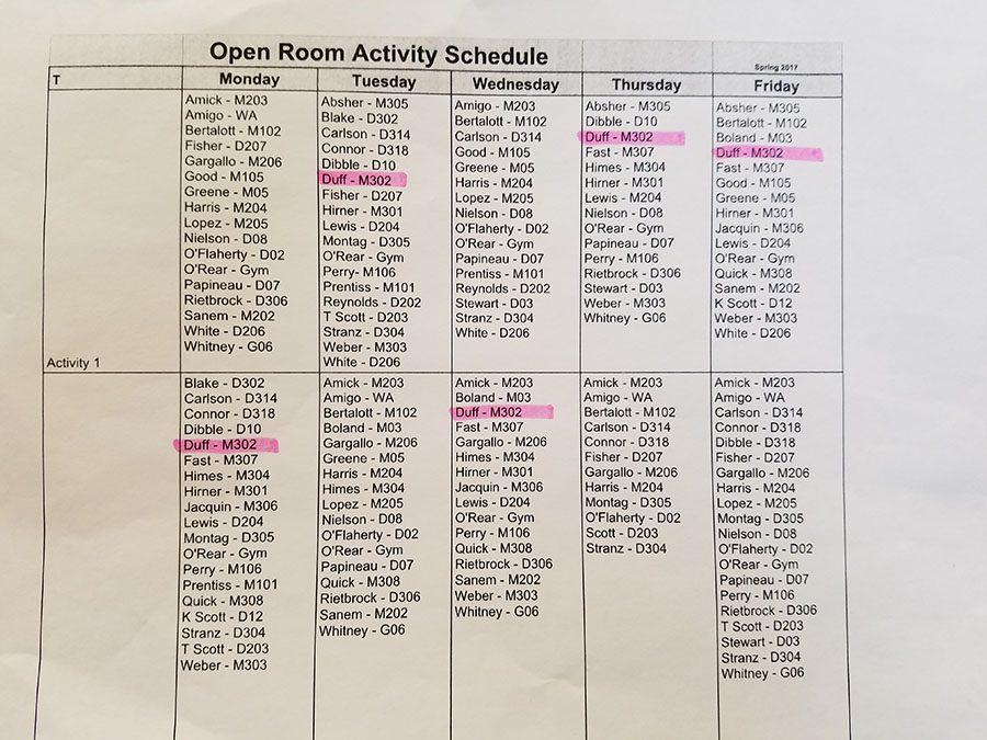 The schedule of teachers who are open during activity one or two on everyday of the week. There are open rooms in both buildings for each activity period, just like before the change. photo by Claire Molloy