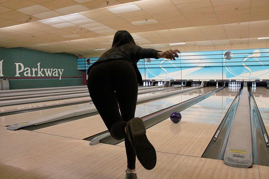 Junior Megan Cotter bowls at Father-Daughter Bowling Night Jan. 8. photo by Meghan Baker