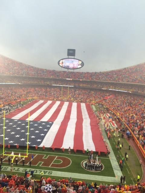 Arrowhead Staduim during the National Anthem at a Chiefs vs. Chargers game. photo by Gabby Mesa