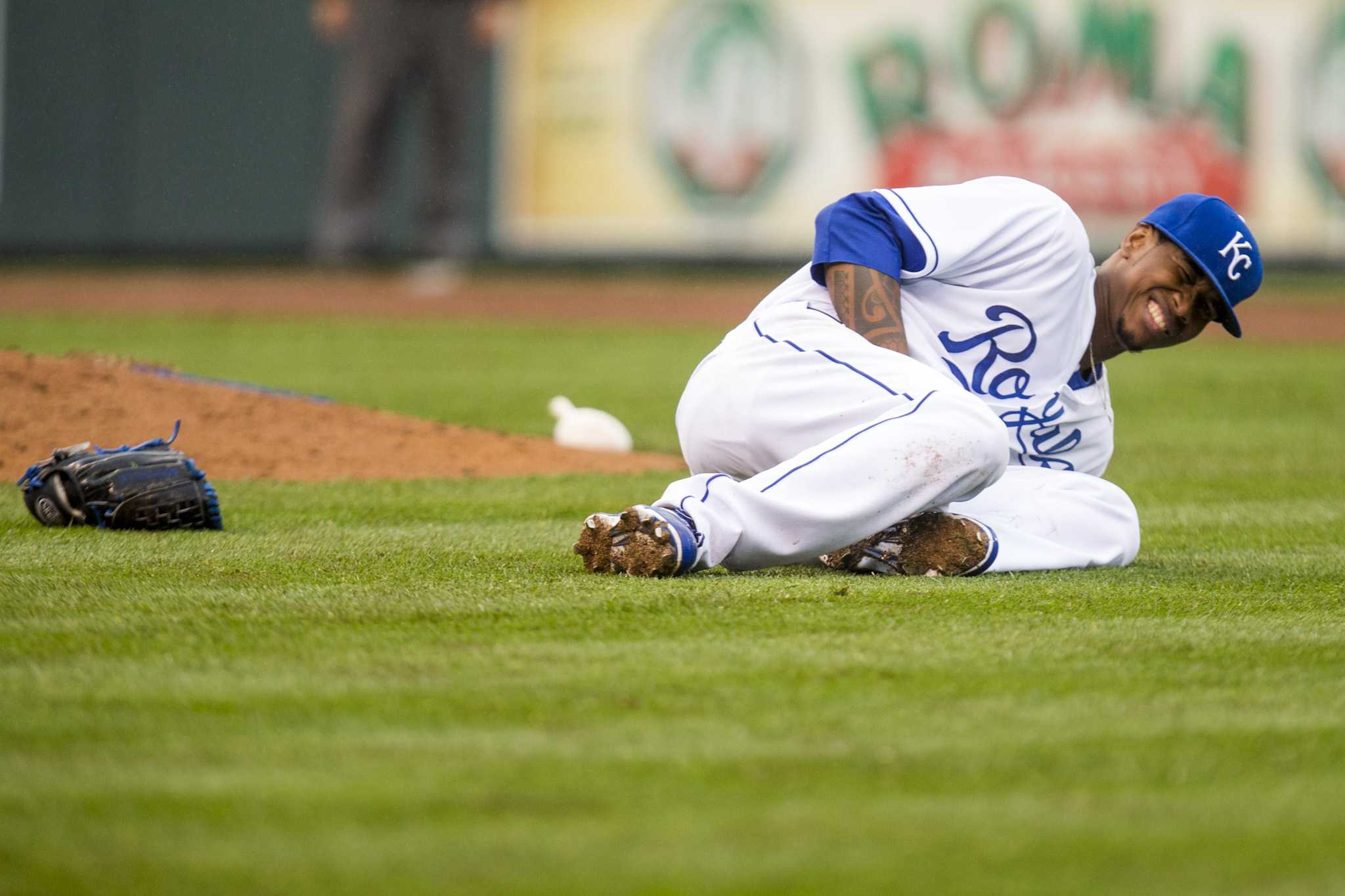 Royals Pitcher, Yordano Ventura falls to the ground during a game against the White Sox. photo courtesy of tribune news service