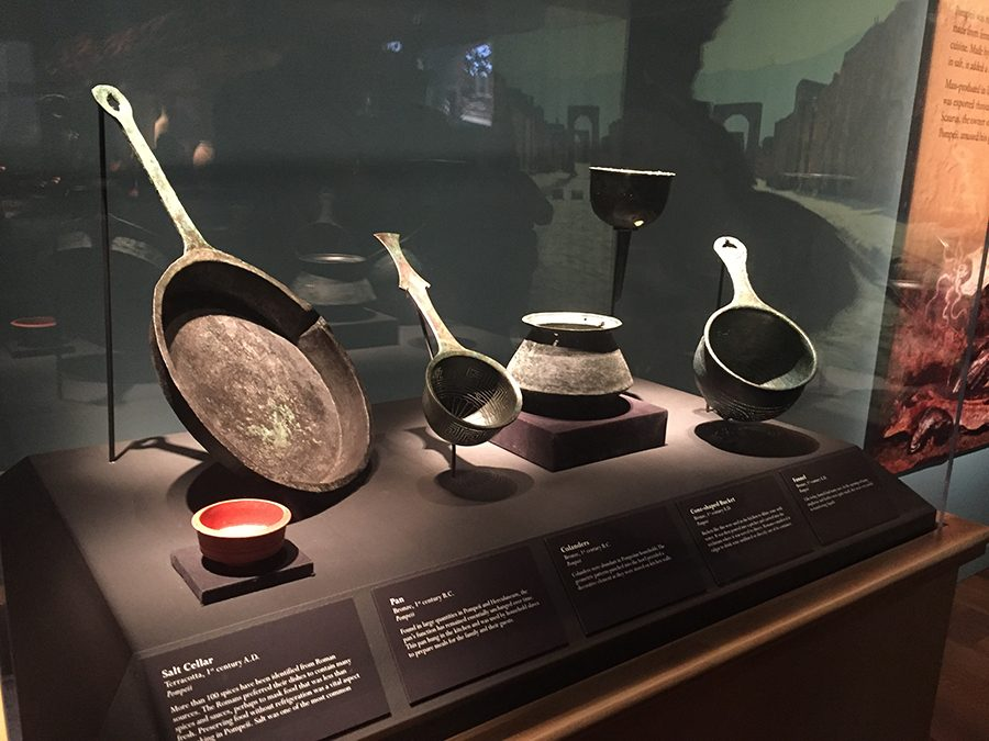 Kitchen+utensils+from+Pompeii+in+Ancient+Rome+sit+on+display+at+Pompeii%3A+The+Exhibition+at+Union+Station+in+Kansas+City.+photo+by+Lily+Manning