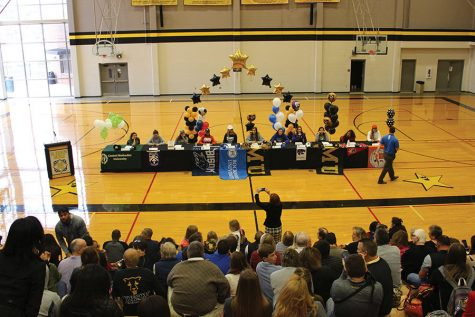 The crowd waits in Goppert Center before watching the seniors sign their letters of intent Feb. 1. photo by Anna Louise Sih