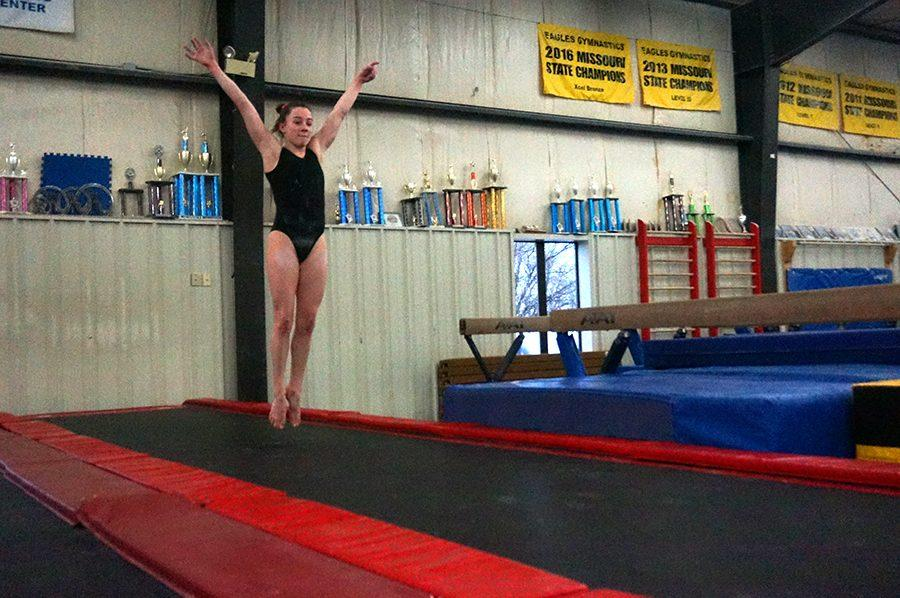 Sophomore Francine Vaughn practices gymnastics on the trampoline. Vaughn practices at Eagles Gymnastics almost every day a week. photo by Gabby Martinez