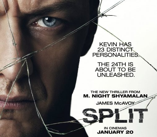 Movie poster released for split featuring James McAvoy. Image courtesy of IMP Movie Poster Awards.