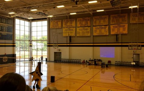 Students gather in the gym as mascot Twinks announces the accomplishments of STA's spring sports Wed. Sept. 13.